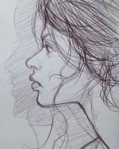 Mi dear sketch pencil on paper #model #picofday #outline #sketch #instagood #art #draw #trace #portrait #spression