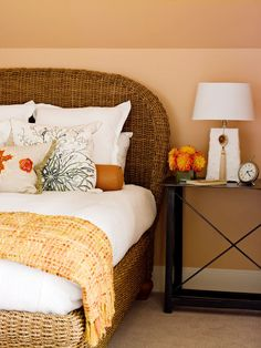 This is such a cool headboard. I love woven furniture - rattan, wicker, sea grass, whatever. Especially when it's used in an unexpected way.