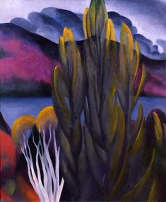 Georgia O'Keeffe (Am. 1887-1986), Lake George with White Birch, 1921. Oil on canvas. Private collection