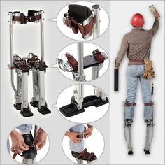 Adjustable Professional Aluminum Plastering Stilts Ladder, free shipping option to most countries worldwide. For best shopping experience visit us, trainedtools.com Drywall Stilts, Carpenter Tools, Stage Props, High Stool, Ladders, Stools, Countries, Clowns