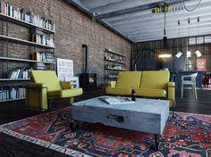 ideas living room green furniture bookshelves for 2019 Living Room Green, Living Room Paint, Small Living Rooms, Living Room Bedroom, Bedroom Modern, Rack Industrial, Industrial House, Industrial Interiors, Industrial Style