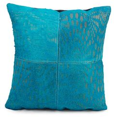 One Kings Lane - Natural Warmth - Leather and Hide 18x18 Pillow, Turquoise