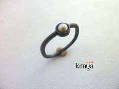 Freshwater Pearl Ring  Oxidized Silver Pearl Ring  by KIMYAJOYAS