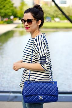 Coach by Saint James Striped Top, Chanel Blue Jumbo