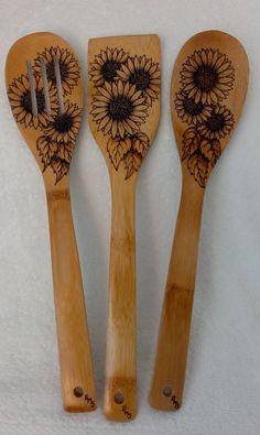 Sunflower Utensil Set by KitchenSmiles on Etsy, $28.00