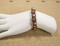 Lucky Brand Brown Leather Antique Gold, Silver and Copper Bead Bracelet MSRP $29...Only $20.99 with free shipping!  #LuckyBrand #BraidedBead