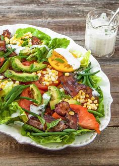 BLT Salad ~ Put those ripe summer tomatoes to good use! Think of this as a deconstructed BLT salad with some corn and fresh green…