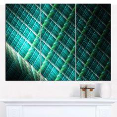 "Designart 'Green Fractal Grill Pattern' Abstract Art on Canvas - 36""x28"" 3 Panels"