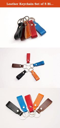 Leather Keychain Set of 5 Black Brown Orange Red Blue. Set of 5 genuine leather keychains made of high quality Italian calfskin leather combined with a strong metal ring. Colors included in the set: Black, Brown, Orange, Red and Blue. These keychains make a perfect gift for your colleagues at the office, your friends and family. 5 different colors makes it practical as you can have your keys separated and organized.