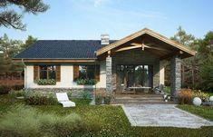 Proiect detaliat – casă pe un singur nivel cu suprafața de 99 m² | stiri.MagazinulDeCase.ro Design Case, Modern House Design, Home Fashion, Gazebo, Porch, Exterior, Outdoor Structures, Cabin, House Styles