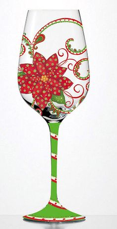 "wine glass painting christmas | Winter Celebration"" wine glass 