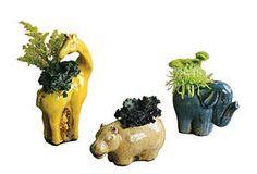 S/3 Ceramic Safari Planters