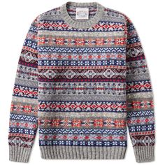 Buy the Jamieson's of Shetland Fair Isle Crew in Grey from leading mens fashion retailer END. - only Fast shipping on all latest Jamiesons of Shetland products Boys Sweaters, Warm Sweaters, Sweater Vests, Mens Fashion Blog, Best Mens Fashion, Men's Fashion, Fair Isle Pullover, Tweed Run, Loom Knitting Patterns