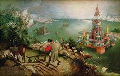 De val van Icarus van Pieter Bruegel de Oude anno nu. Het leven gaat gewoon door. Treffende juxta-shop van Davide contro Giovanni.