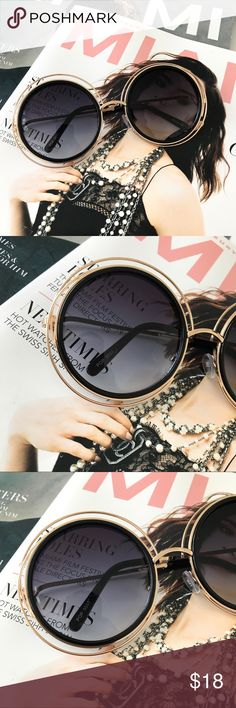 OVERSIZED GOLD TRIM ROUND FRAME SUNGLASSES Oversized sunglasses  Gold double ring trim Black lens Black frame  PRICE FIRM Style Link Miami Accessories Sunglasses