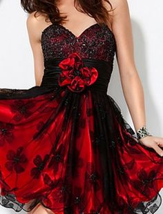 Cute Stylish Red & Black Cocktail Party Dress <3