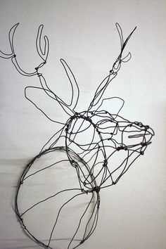 Wire Stag Head Sculpture up right by Slackgirl, via Flickr