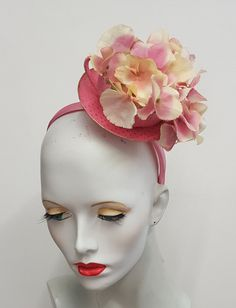 Pink tea cup fascinator Hydrangea flowers gold by SHMillinery