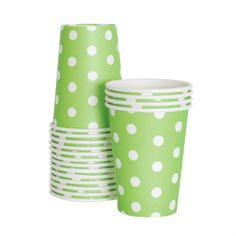 Paper Cups - Apple Green Polka Dot