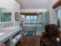 Master Bathroom: #Glee Creator #RyanMurphy's Beach House in Malibu