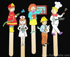 Community Helper Stick Puppets - could make these with real pics if our school community helpers Community Workers, School Community, Fun Crafts For Kids, Preschool Activities, Craft Kids, Space Activities, Kids Fun, People Who Help Us, Community Helpers Preschool