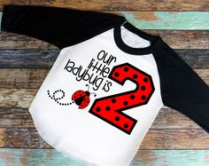 "Our Ladybug Is ""2"" Birthday Shirt, Birthday Raglan or T-Shirt - Girl's Shirt, birthday shirt, two years old, 2nd birthday"