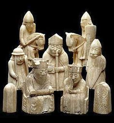 The Lewis Chessmen, probably made in Norway, about AD 1150-1200. At this period, the Western Isles, where the chessmen were buried, were part of the Kingdom of Norway. It seems likely they were buried on route to be traded in Irland. Maybe the Ship sunk and nobody was left to reclaim them.