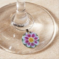 Pink and White Dahlia Floral Photo Wine Charm