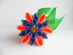 Мастер класс Канзаши :Резиночка - Фантазия. Цветы из лент Ribbon Flower ...