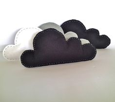 "Felt Cloud Pillows. Would be so cute with the 'You Are My Sunshine"" themed nursery."