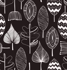 Floral linear seamless decorative pattern. Scribble background with leafs. Black and white contour fabric texture. Hand drawn template for design Vector