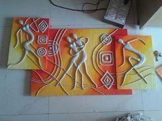 Lippan clay craft s Clay Wall Art, Mural Wall Art, Mural Painting, Paintings, Art N Craft, Diy Canvas Art, Polymer Clay Art, Bottle Art, Tribal Art