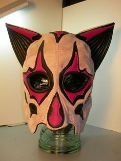 Pink Suede/ Leather Head Mask  the Vixen by LeatherheadOriginals, $109.99