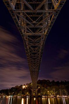 Aurora bridge after dark