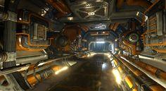 Corridor, Justin Owens on ArtStation at… Sci Fi Environment, Environment Design, Blade Runner, Spaceship Interior, Futuristic Interior, Science Fiction, Space Whale, Sci Fi City, Sci Fi Models