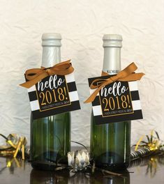Items similar to Holiday Gift Tags & Ribbon - New Years Eve Party Favor - Mini Champagne Bottle Tags - Corporate Christmas Gift - Personalized 2019 Tag on Etsy Mini Liquor Bottles, Mini Champagne Bottles, Wine Bottle Tags, Wine Bottles, Corporate Christmas Gifts, Holiday Gift Tags, Personalized Christmas Gifts, Personalized Wine, New Years Eve Decorations