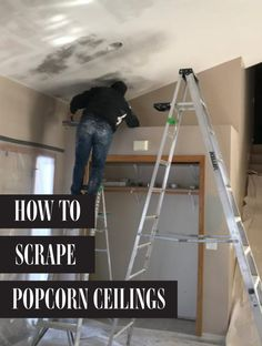 Popcorn ceilings were popular in the – and now more and more homeowners are scraping them down and adding their own knockdown ceiling texture or doin Popcorn Ceiling Makeover, Removing Popcorn Ceiling, Types Of Ceilings, Basement Layout, Ceiling Texture, Transitional House, Diy Cabinets, Handmade Home, Ceiling Design