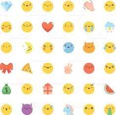 Emoji icon vector set. Flat cute korean style isolated emoticons royalty-free stock vector art