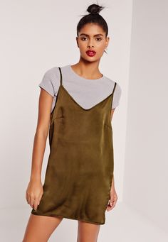 Missguided - Rib 2 in 1 satin shift dress