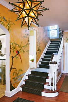 Frank Maguire designed foyer in the Red Cross Palm Beach Showhouse Traditional Home Magazine, Traditional Decor, Traditional House, Foyer Table Decor, Front Entryway Decor, Foyer Design, Tree Wall Art, Showcase Design, Stairways