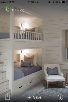 Built in bunks House of Turquoise: Sophie Metz Design Bunk Beds Built In, Bunk Beds With Stairs, Kids Bunk Beds, Bunkbeds For Small Room, Bunk Beds For Girls Room, Girl Bedrooms, Build In Bunk Beds, Bunk Beds For Adults, Built In Beds For Kids