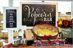 Chalkboard Popcorn Bar - darling set up for a wedding but could be used for so many different celebrations!!