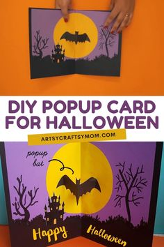 DIY POP UP BAT HALLOWEEN CARD FOR KIDS Give your friends this Halloween Card and wait for some fun! As soon as the card opens, out pops the bat – and the screams!! Halloween Games, Up Halloween, Halloween Crafts, Wacky Holidays, Holidays With Kids, Scary Faces, Trunk Or Treat, Gifted Kids, Fall Crafts