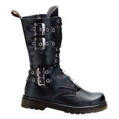 MENS Gothic Boots Combat Boot Style Calf Boot Buckles Steel Plate Panels