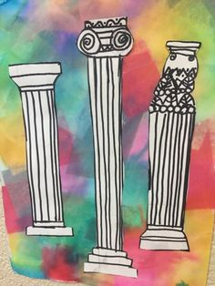 Third grade students illustrated their knowledge of Greek architecture that they learned in social studies class.  In art class, they drew ...
