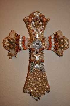 $45.00  Wooden Jeweled Cross. Handmade. 10% off with code on site. Shopjaykay www.etsy.com