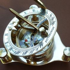 Steampunk Victorian Pirate Brass Sundial Compass Clock Pocket Nautical Marine