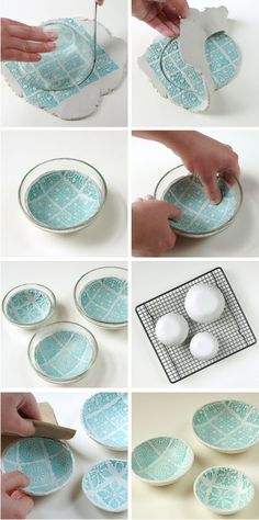 Diy Stamped Air Dry Clay Bowls: