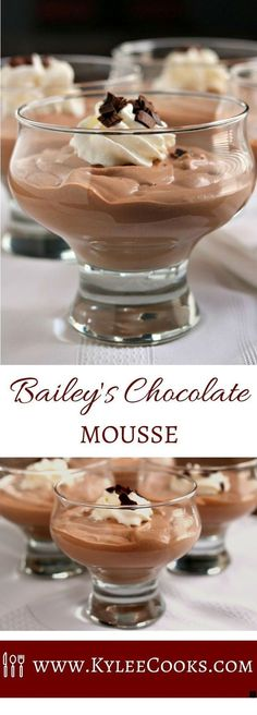 Bailey's Chocolate Mousse Need a really easy, really tasty and impressive dessert for a special occasion? How about this Bailey's Chocolate Mousse? It's decadent, it's rich and it absolutely hits the spot after dinner. Chocolate Desserts, Dessert Recipes, Baileys Chocolate Mousse Recipe, Dinner Recipes, Dessert Simple, Impressive Desserts, Tasty, Yummy Food, Puddings