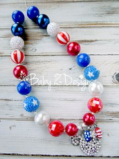 Fourth of July Rhinestone Minne Mouse Chunky Necklace by babyzdesigns, $19.99